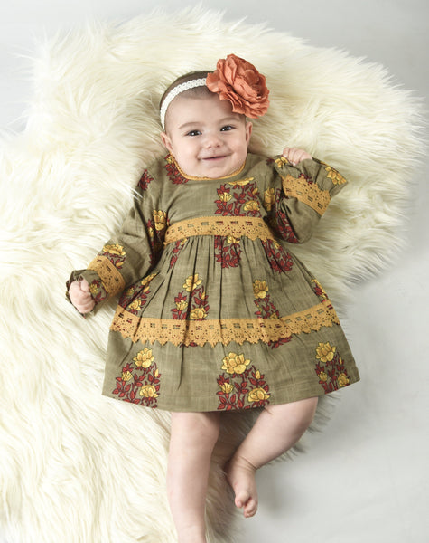 Cement Grey with Yellow Red Lace Detail Infant Dress with Matching Bloomers Dress Yo Baby Wholesale