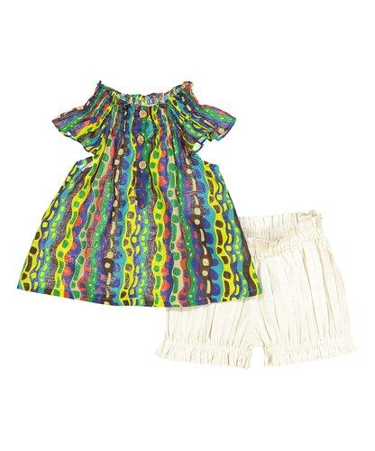 Colorful Smocked Detail Top and Off White Shorts 2 Pc. Set Dress Yo Baby Wholesale