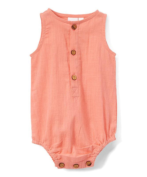 Coral Infant Sleeveless Romper - Unisex romper Yo Baby Wholesale