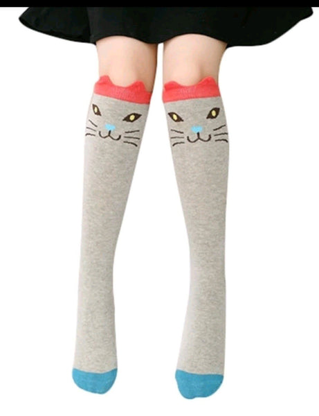 Cotton Knee Socks - Grey cat Yo Baby Wholesale