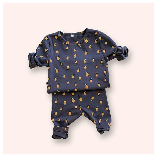 Dark Grey Lemon-Print Knit Top & Pants Set - Unisex Dress Yo Baby Wholesale