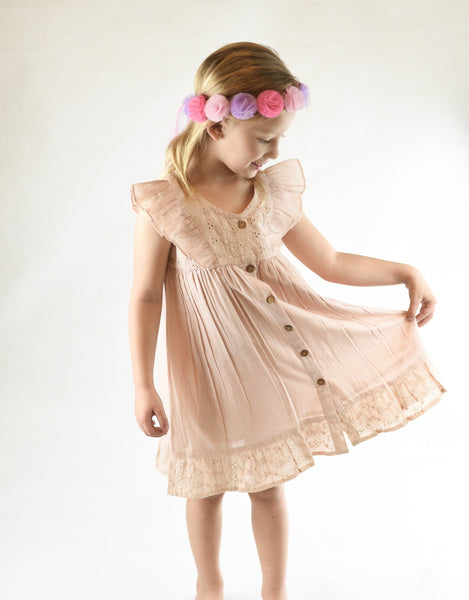 Embroidered Blush Flutter Sleeve Dress Dress Yo Baby Wholesale