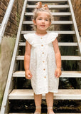 Embroidered Ivory Flutter Sleeve Dress Dress Yo Baby Wholesale