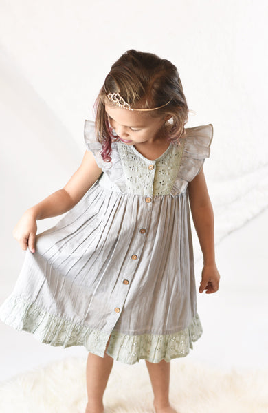 Embroidered Powder Blue Flutter Sleeve Dress Dress Yo Baby Wholesale