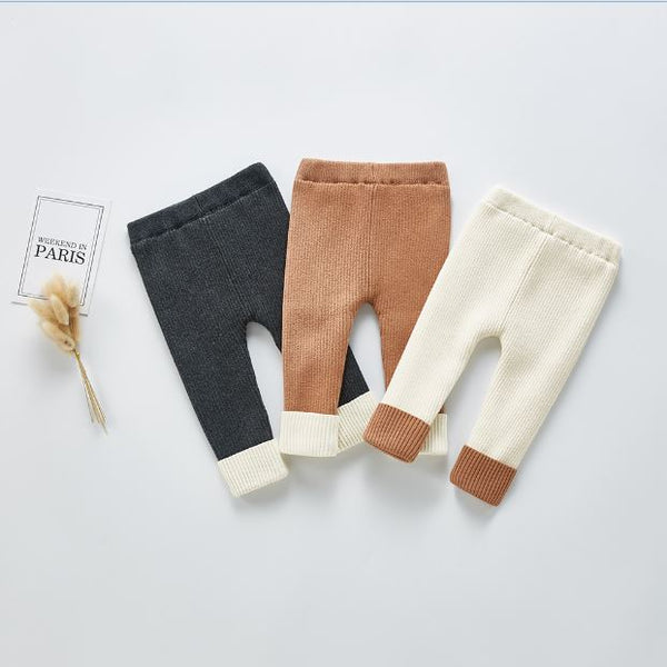 Fleece-Lined Ribbed Solid Winter Tights - Unisex Yo Baby India