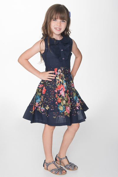 Floral Blue Frill Dress Dress Yo Baby Wholesale