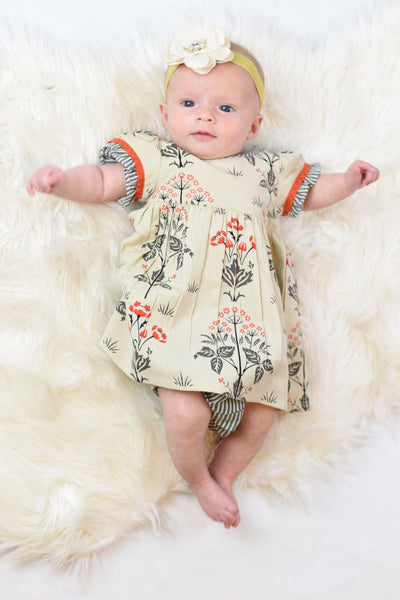 Floral Shift Dress With Contrasting Orange Lace Detail & Diaper Cover Set Dress Yo Baby Wholesale