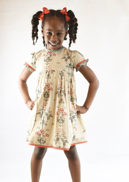 Floral Shift Dress With Contrasting Orange Lace Detail Dress Yo Baby Wholesale