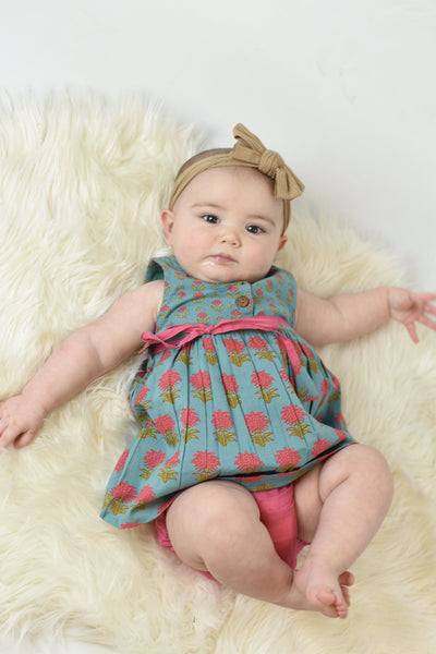 Floral Shift Dress With Drawstring Detail & Diaper Cover Set Dress Yo Baby Wholesale