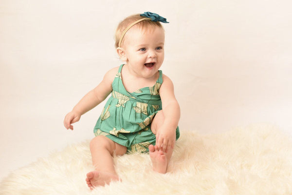 Floral Turquoise Strappy-Dress & Diaper Cover 2-pc. set Yo Baby Wholesale