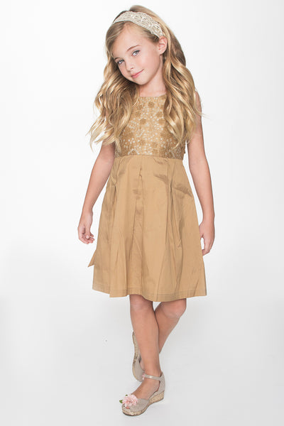 Gold on Gold Embroidery Dress Dress Yo Baby Wholesale