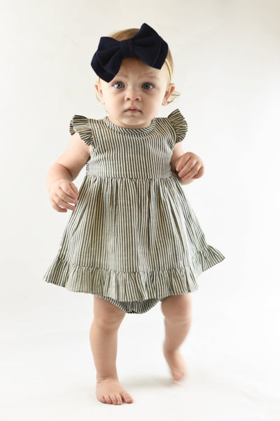 Grey Angel Sleeves Pin Stripe Dress With Matching Bloomer Dress Yo Baby Wholesale