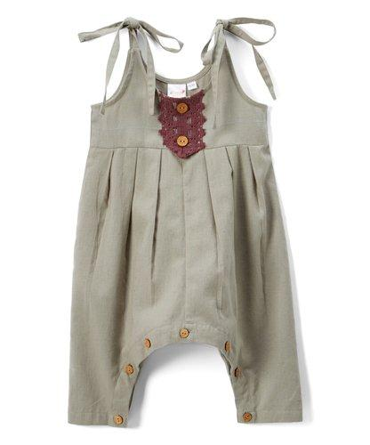 Grey Infant Jumpsuit with Burgundy Lace Detail Dress Yo Baby Wholesale