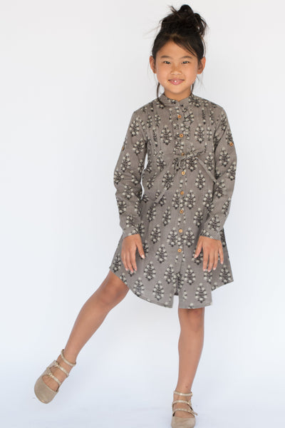 Grey Leaf Print Shirt Dress with Frill and Drawstring Detail Dress Yo Baby Wholesale