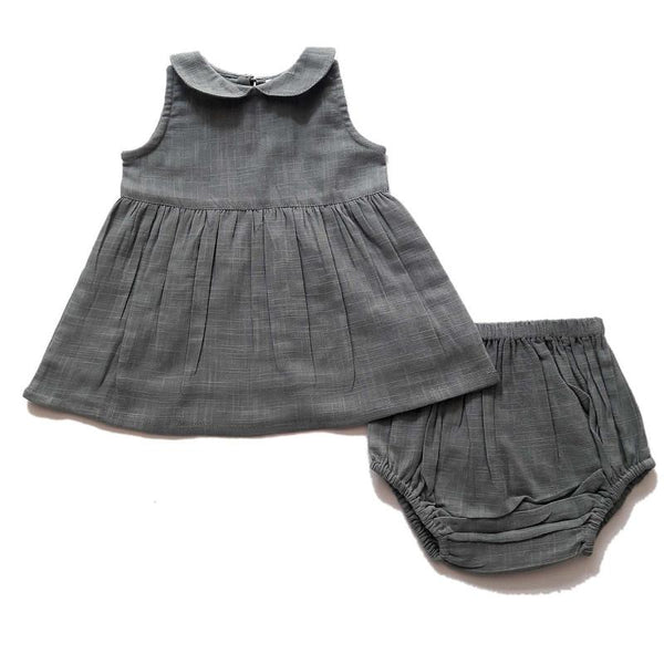 Grey Peter-Pan Collar Dress & Diaper Cover Dress Yo Baby Wholesale