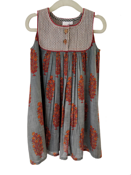 Grey with Red Orange Floral Print with Pinstripe Quilted Yoke Detail Dress Dress Yo Baby Wholesale