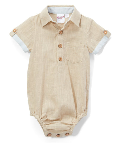 Infant Half-Sleeve Shirt Romper - Khaki diaper covers Yo Baby Wholesale