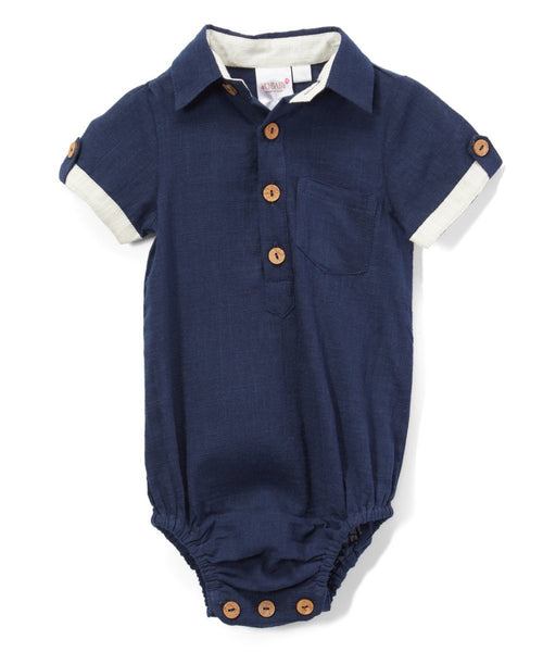 Infant Half-Sleeve Shirt Romper - Navy diaper covers Yo Baby Wholesale