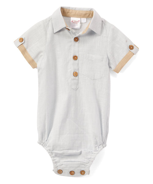 Infant Half-Sleeve Shirt Romper - Powder Blue diaper covers Yo Baby Wholesale