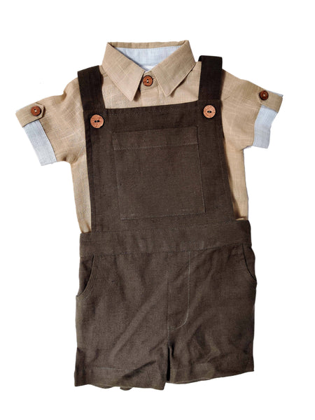 Infant Romper-Shirt and Overalls Set - Beige & Olive Boys Yo Baby Wholesale