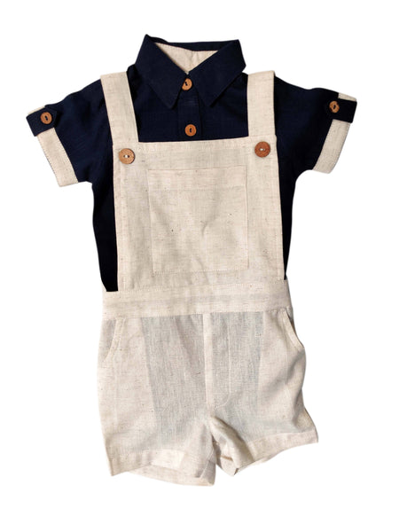 Infant Romper-Shirt and Overalls Set -Navy & Ivory Boys Yo Baby Wholesale