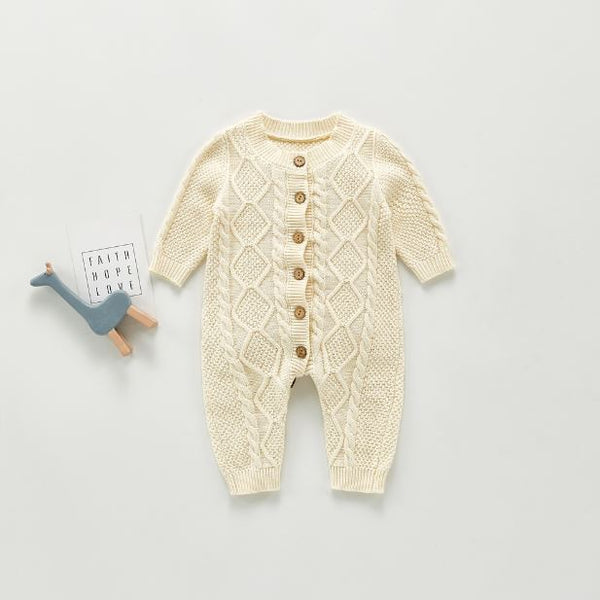 Ivory Cable Knit Sweater-Romper - Unisex Dress Yo Baby Wholesale