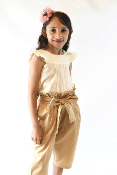 Ivory Frill Top with Khakhi Paper Bag Pants 2 pc. Set Dress Yo Baby Wholesale