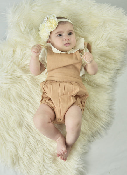 Ivory Ruffle Neck Top & Romper Set Dress Yo Baby Wholesale