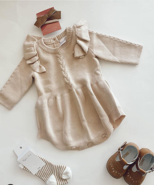 Ivory Ruffle Sweater Romper Dress Dress Yo Baby Wholesale