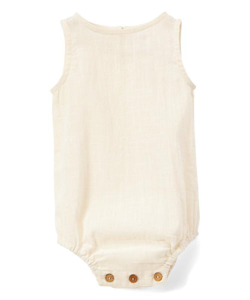 Ivory Unisex Sleeveless Romper - Newborn/Infant romper Yo Baby Wholesale