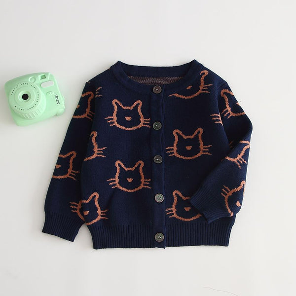 Knitted Cat Print Sweater-Jacket - Unisex Dress Yo Baby Wholesale