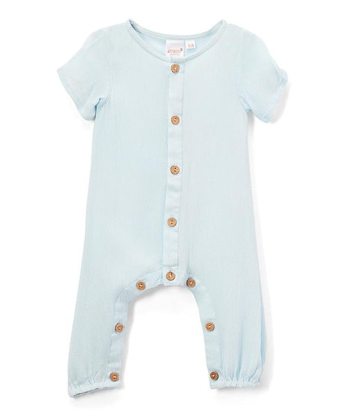 Light Blue Unisex Infant Half Sleeve Romper romper Yo Baby Wholesale