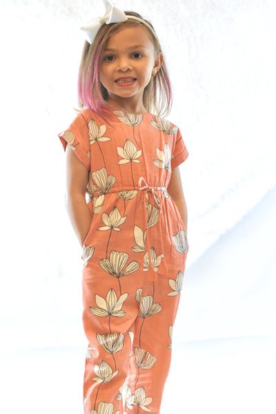 Limited Edition - Coral Floral Jumpsuit with Drawstring Detail Dress Yo Baby Wholesale