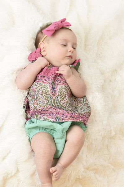 Limited Edition - Ruffled Paisley Top With Diaper Cover Set Dress Yo Baby Wholesale