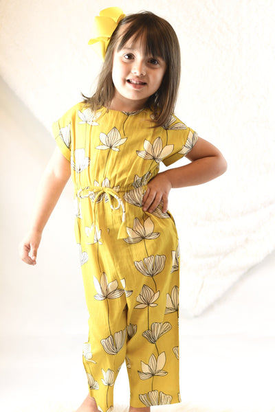 Limited Edition - Yellow Floral Jumpsuit with Drawstring Detail Dress Yo Baby Wholesale