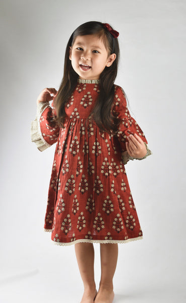 Maroon Dress with Pin Stripe Detail on Sleeve and Neck Dress Yo Baby Wholesale