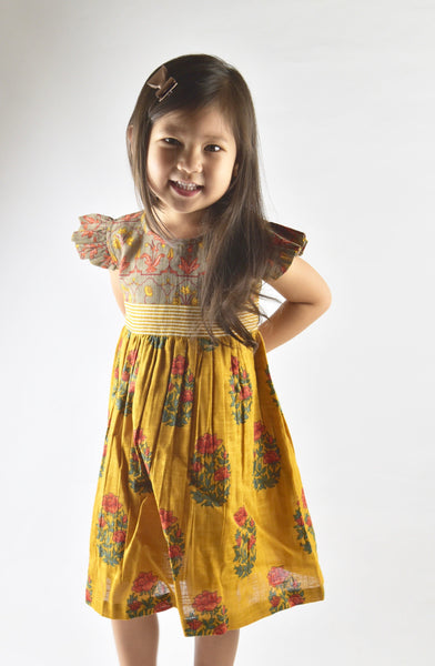 Mustard Multi Print Flutter Sleeves Belted Dress Dress Yo Baby Wholesale