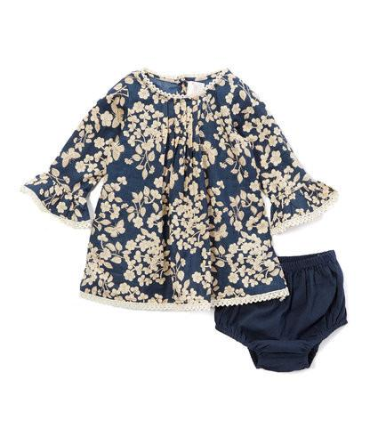 Navy Cherry Blossom Inspired Box Pleat Lace Detail Infant Dress Dress Yo Baby Wholesale
