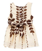 Off White and Brown Leaf Print Infant Dress Dress Yo Baby Wholesale