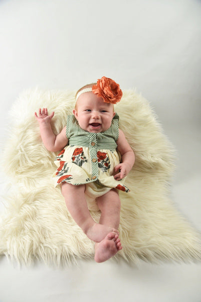 Off-white and Green Pin Stripe With Floral Print Infant Dress with Matching Bloomers Dress Yo Baby Wholesale