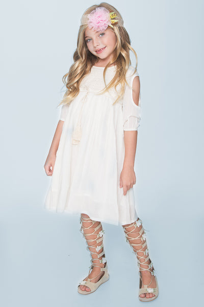 Off-White Lace Detail Cold Shoulder Dress Dress Yo Baby Wholesale