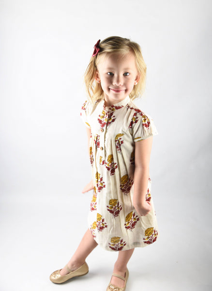 Off white Printed Dress with Yoke Detail and Chinese Collar Dress Yo Baby Wholesale