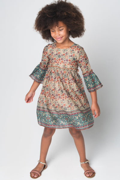 Orange & Brown Floral Bell-Sleeve A-Line Dress Dress Yo Baby Wholesale