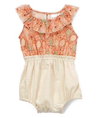 Orange Printed Jumpsuit with Frill Detail Dress Yo Baby Wholesale