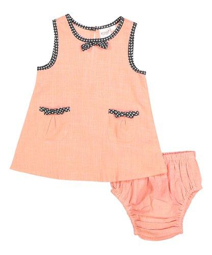 Peach Shift Infant Dress With Polka Dot Piping Dress Yo Baby Wholesale