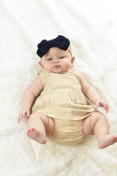 Peter-Pan Collar Shift Dress & Diaper Cover Set - Blush Sun Dress Yo Baby Wholesale