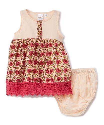 Pink Floral Lace-Trim A-Line Dress with Diaper Cover 2pc.set Dress Yo Baby Wholesale