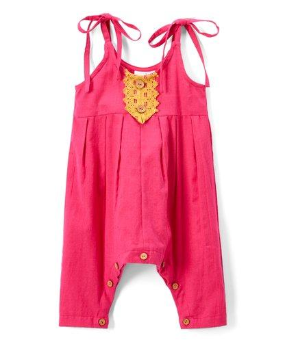 Pink Infant Jumpsuit with Yellow Lace Detail Dress Yo Baby Wholesale