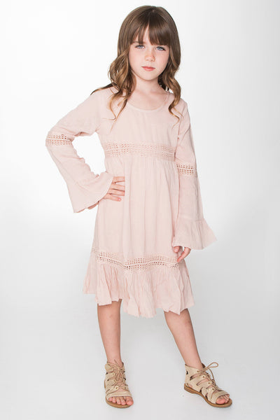 Pink Lace Detail Long Bell Sleeves Dress Dress Yo Baby Wholesale