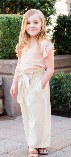 Pink Ruffle Sleeves Top with High-Waist Ivory Paper Bag Pants 2 pc. Set Dress Yo Baby Wholesale